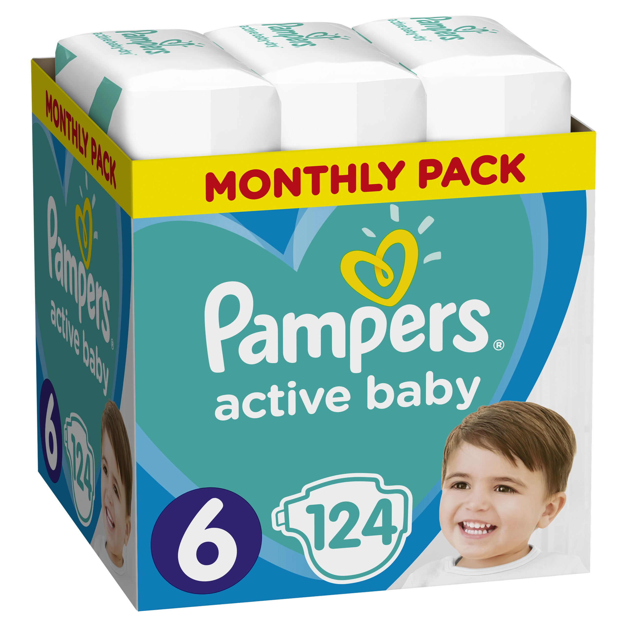 PAMPERS Подгузники Active Baby 6 extra large 124