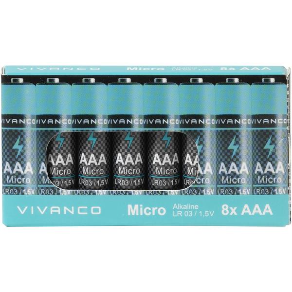 8ks alkalické batérie AAA LR3 1.5V VIVANKO PROMO