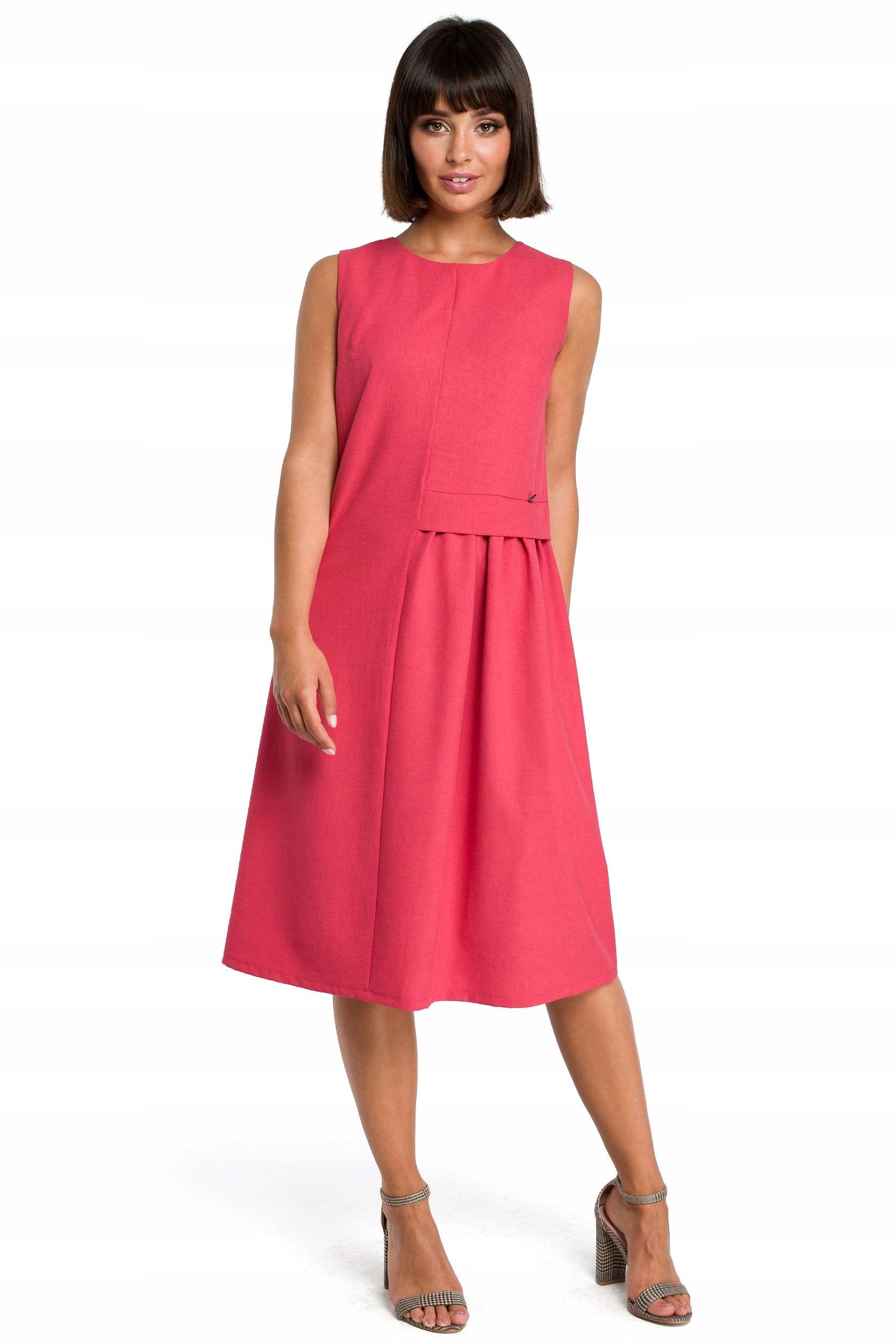 B080 Zwiewna sukienka midi bez rękawów - różowa 42