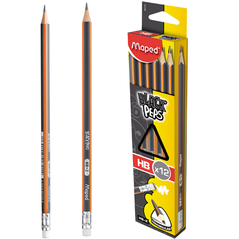 Trojuholníková ceruzka Mapovala Blackpeps HB s guma