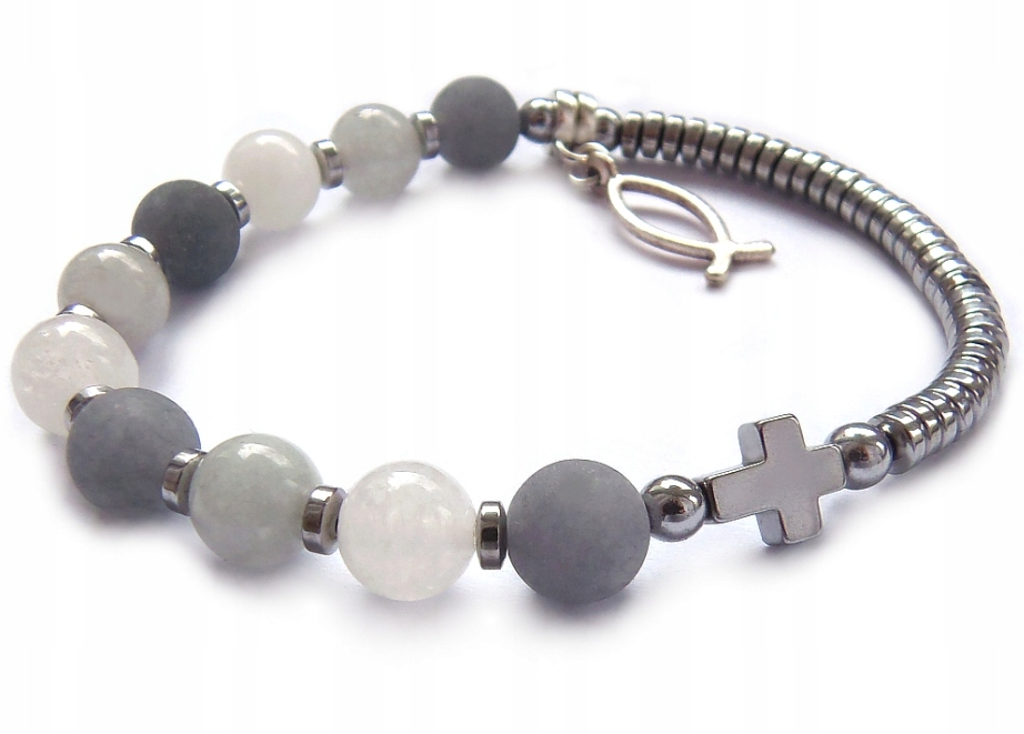 Item A rosary of stones, the bracelet on the arm For her