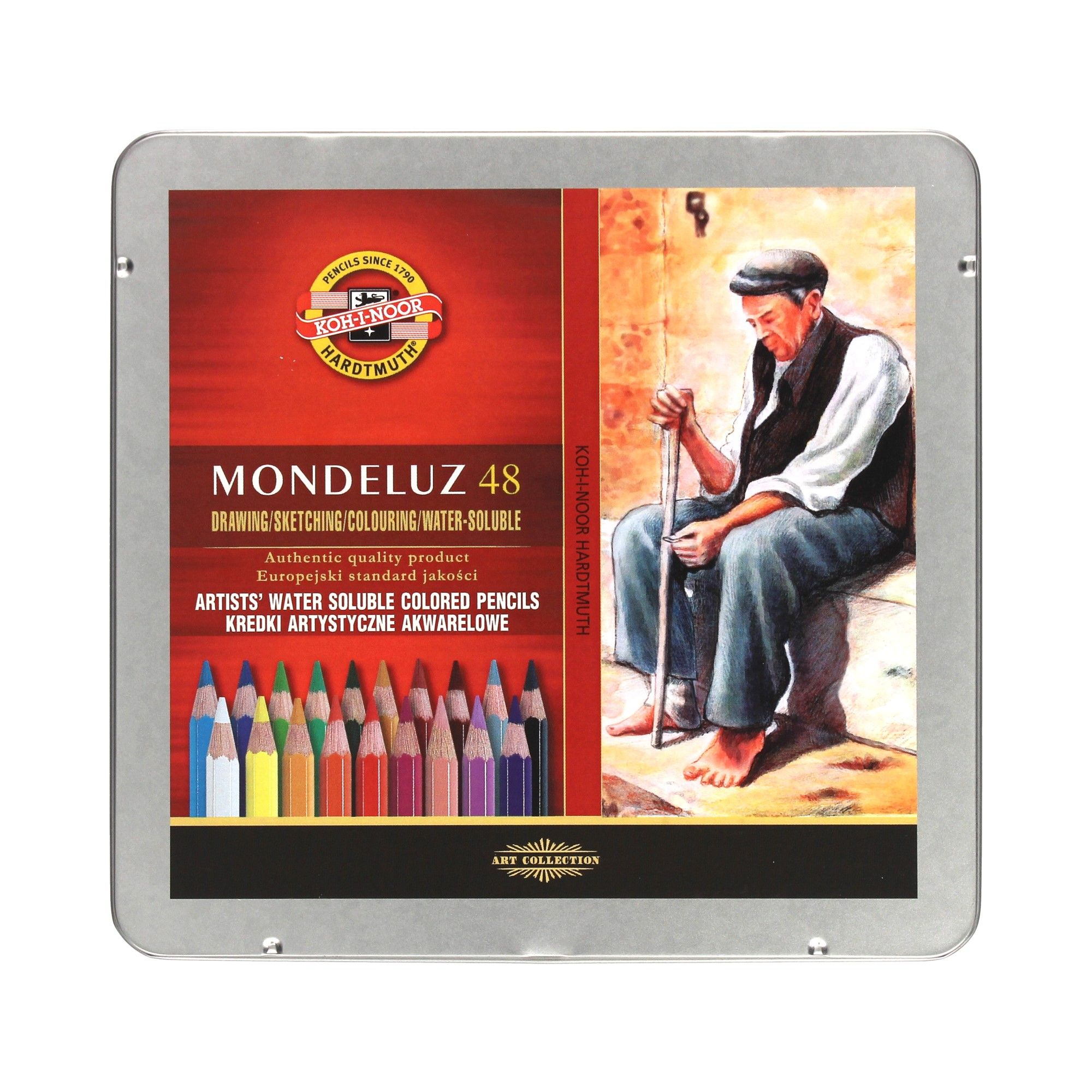 Akvarelové pastelky Mondeluz 48kol kovové pack Kín