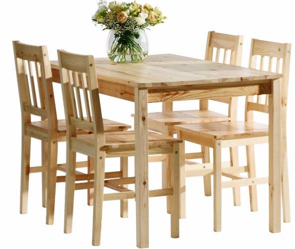STÔL + 4 stoličky pre obývacia izba, kuchyňa, jedáleň, BOROVICA