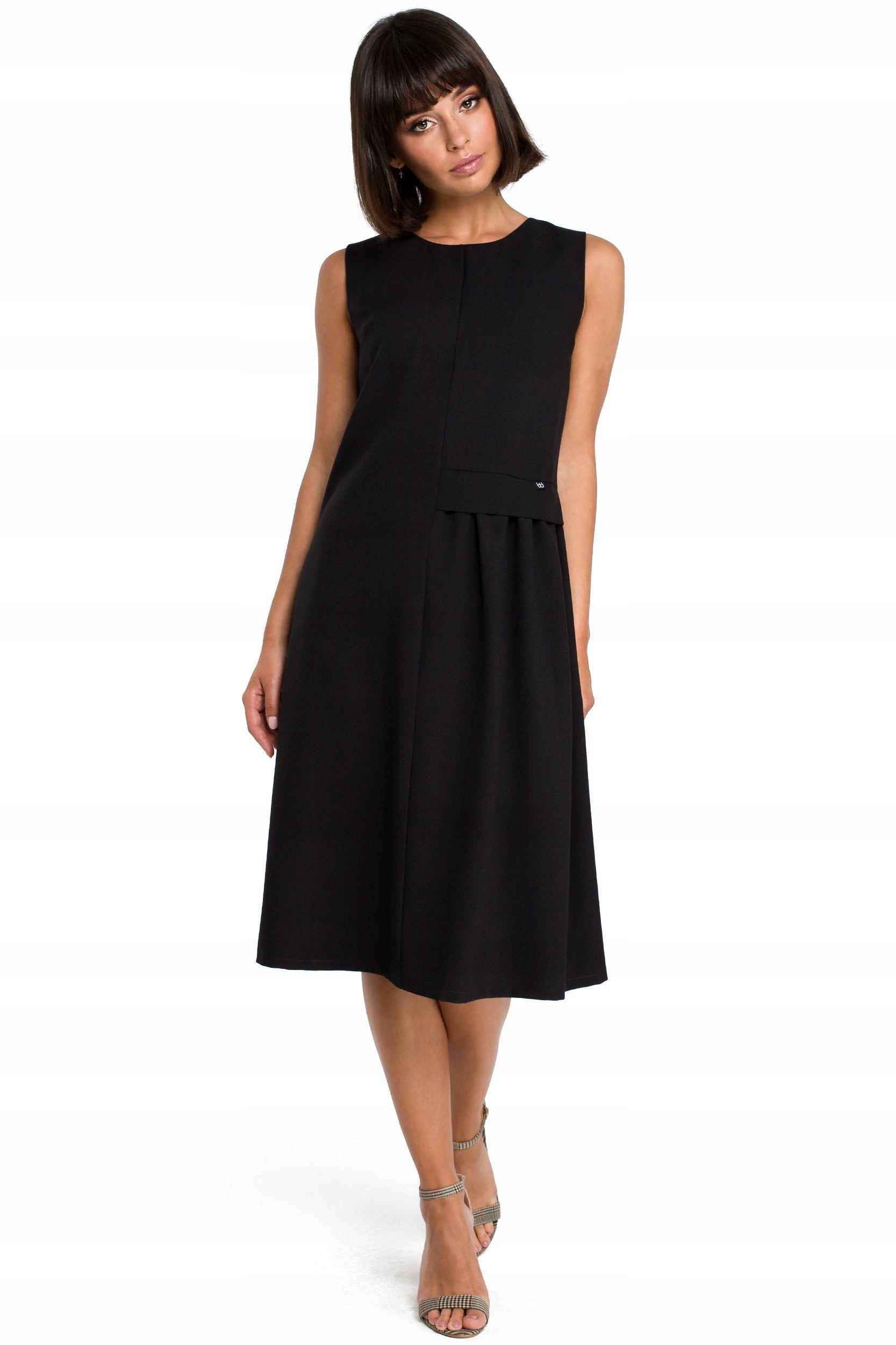 B080 Zwiewna sukienka midi bez rękawów - czarna 42