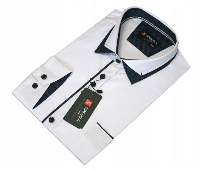 Ad2 Koszula męska DŁUGI GŁADKA BIAŁA slim 4243 8082921189  BCxEd