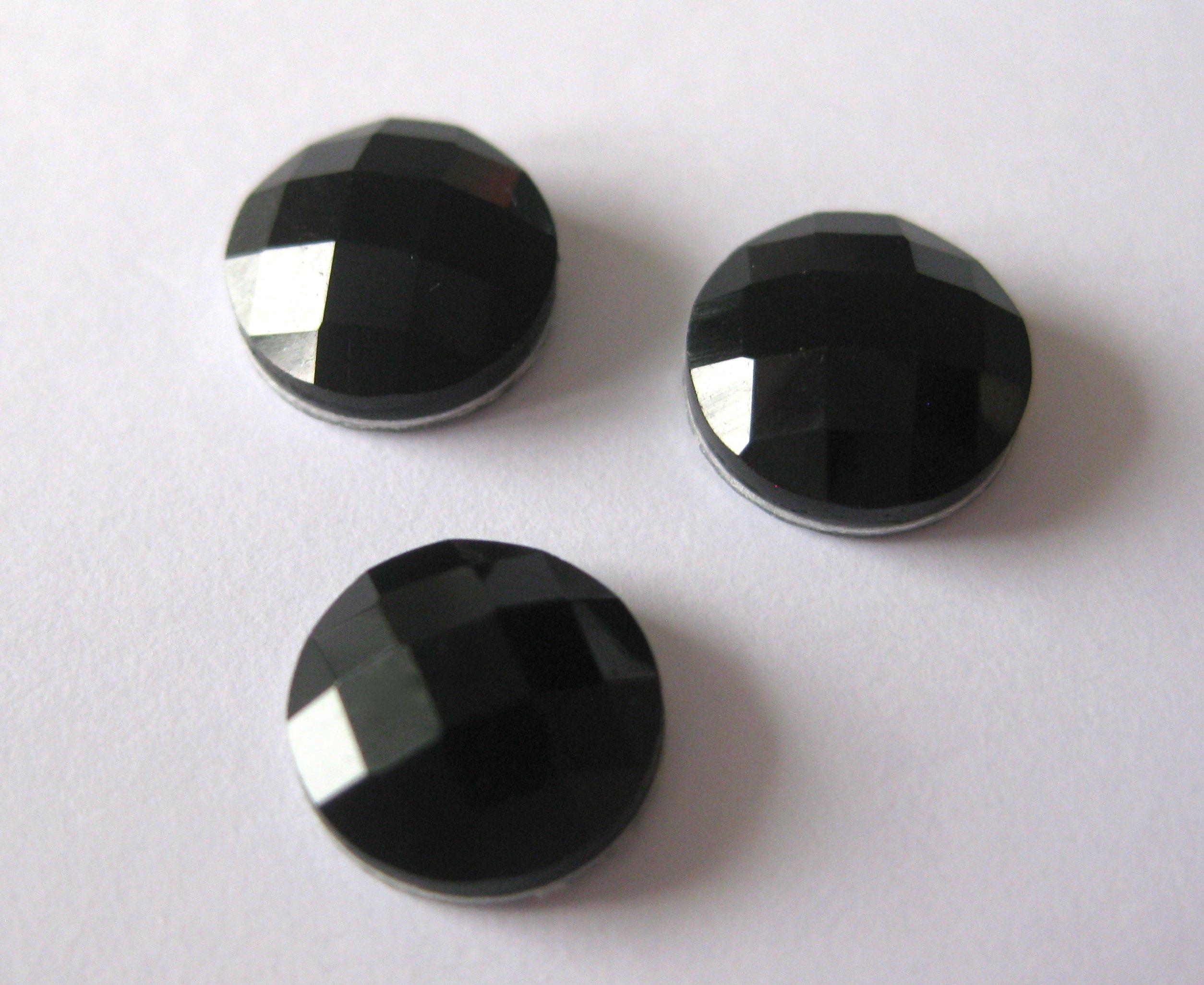 Cabochon Facedowed Termo Circle 15mm Black 1 ks