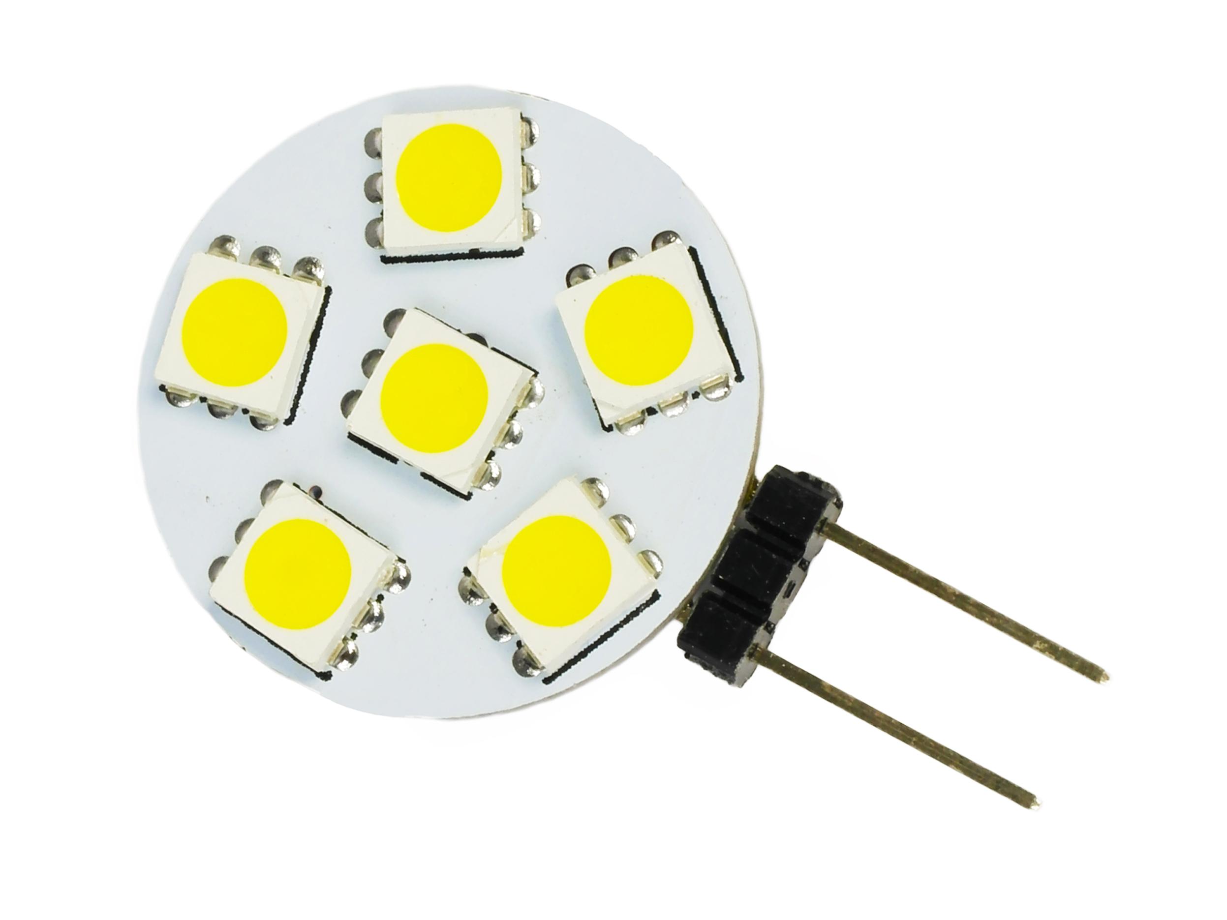 Žiarovka G4 6 LED 12V 1.5W 5050 SMD 100LM studené