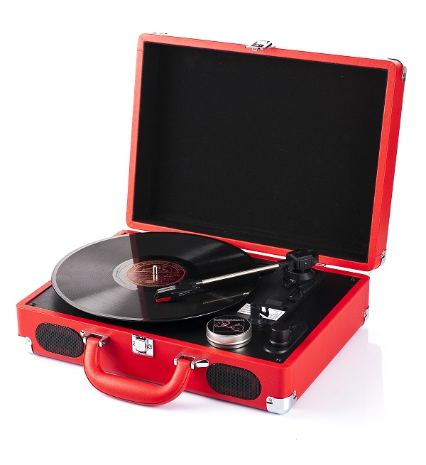 Item The record player in suitcase, battery, speakers, Bluetooth