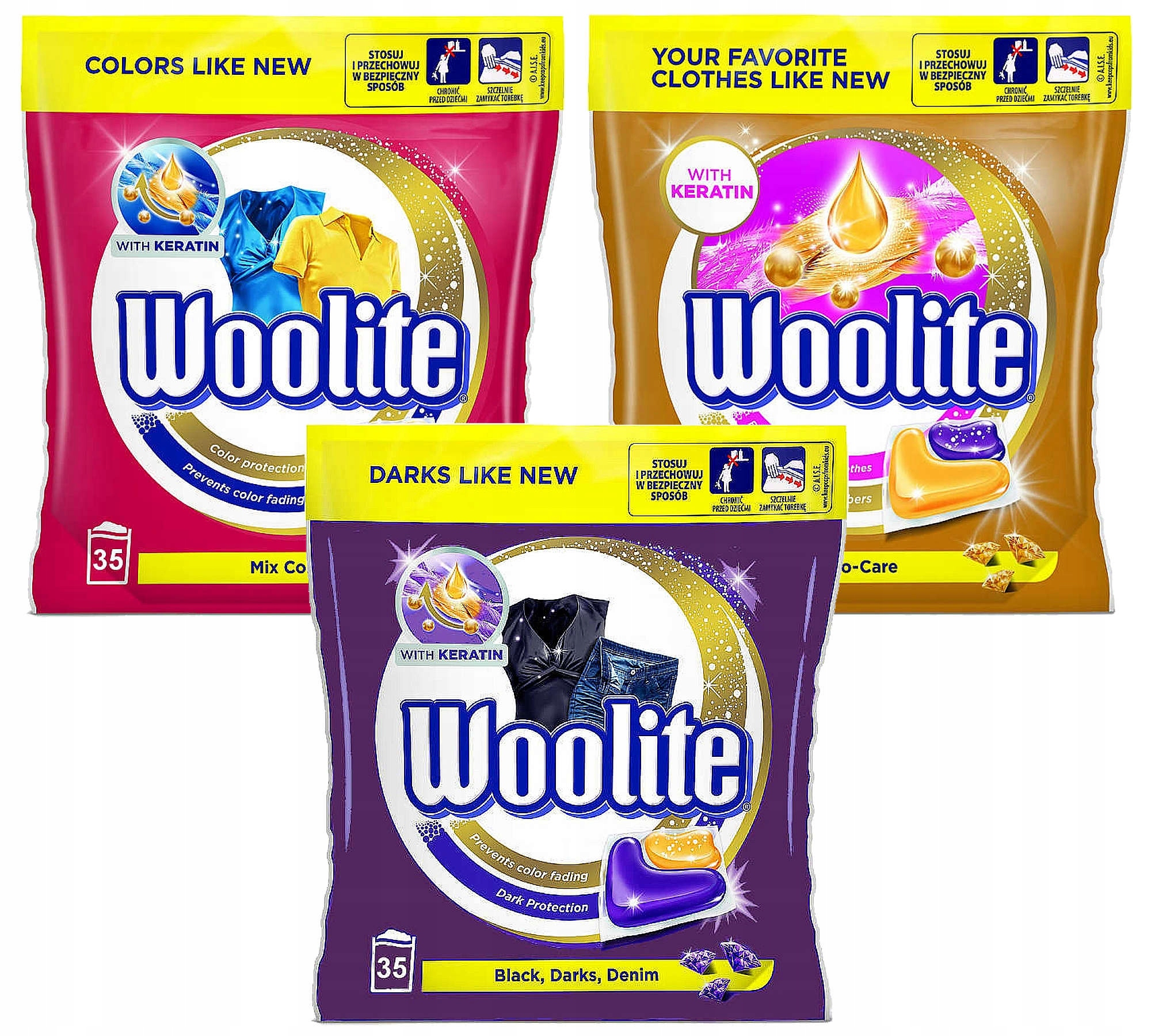 Woolite Dark Colors Pro Капсулы 105szt Комплект XL
