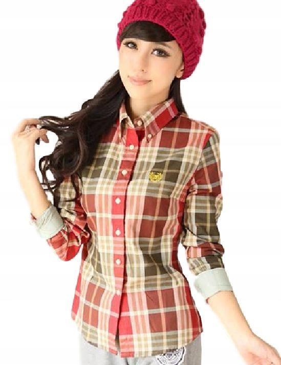Ženské kockované košele vintage móda móda S 36