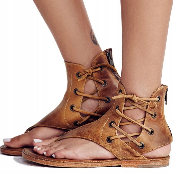 Ploché sandále pre ženy viazané na retro romanes 43