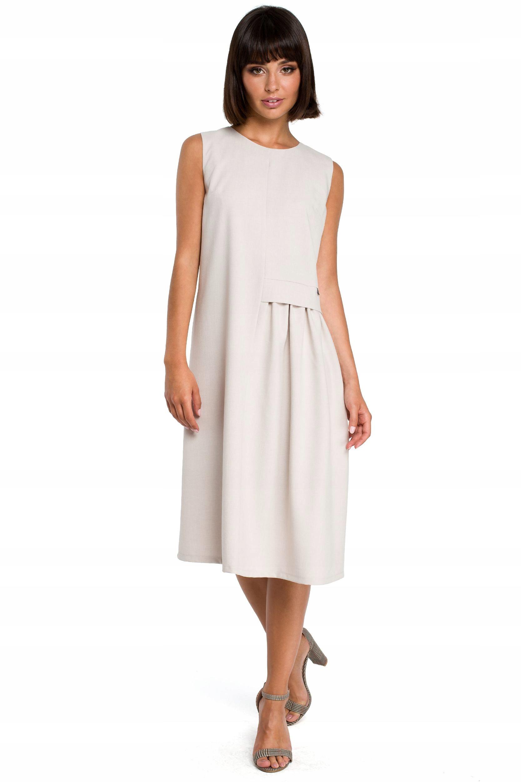 B080 Zwiewna sukienka midi bez rękawów - beżowa 40