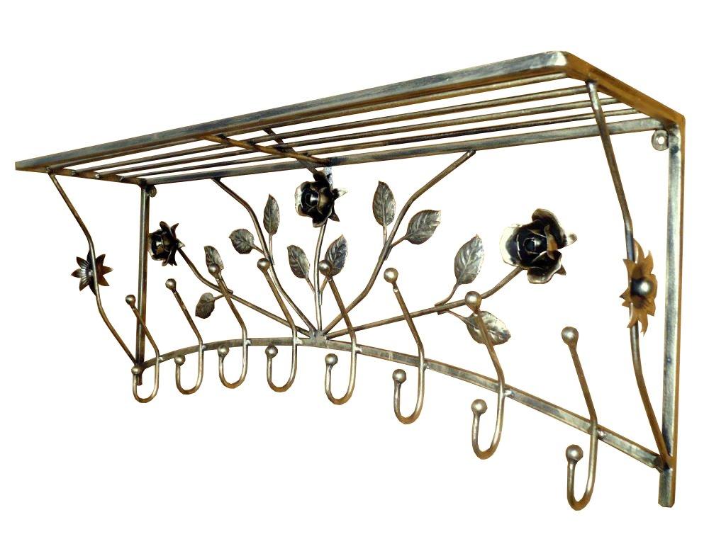 Ramienka kovaného železa pre oblečenie s polica rose 100 cm