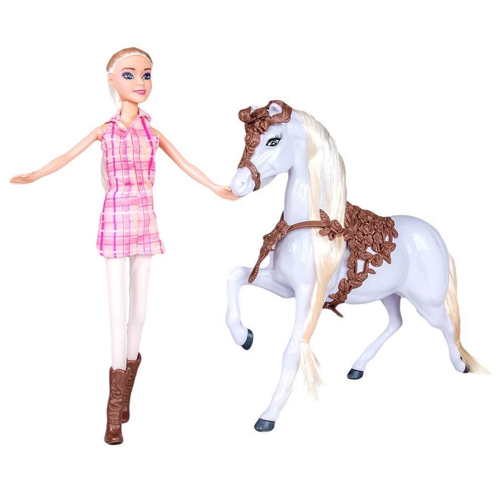 Fleur bábika s koňom žokej 30 cm blondínka
