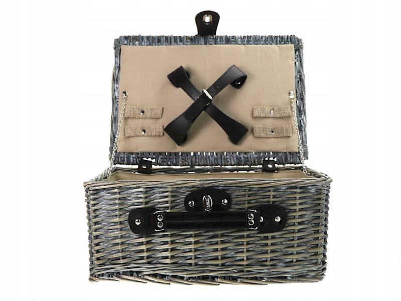 Prútený kôš, piknik bez hardware, šedá
