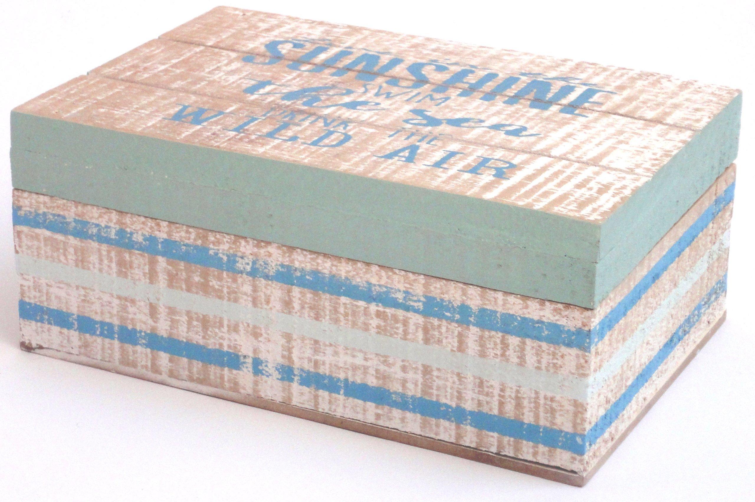 Drevený box biely - BLUE CASKET