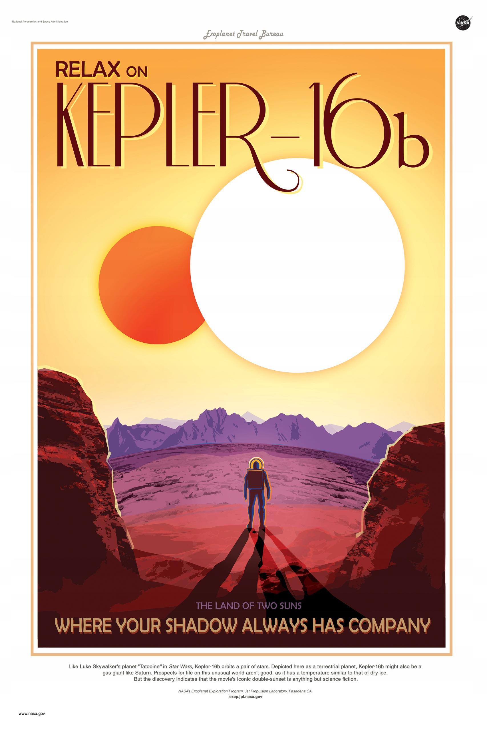 плакат НАСА планета двух солнц KEPLER 16B 91x61