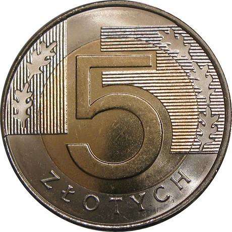 Монета 5 злотых 2016 из мешка или рулона