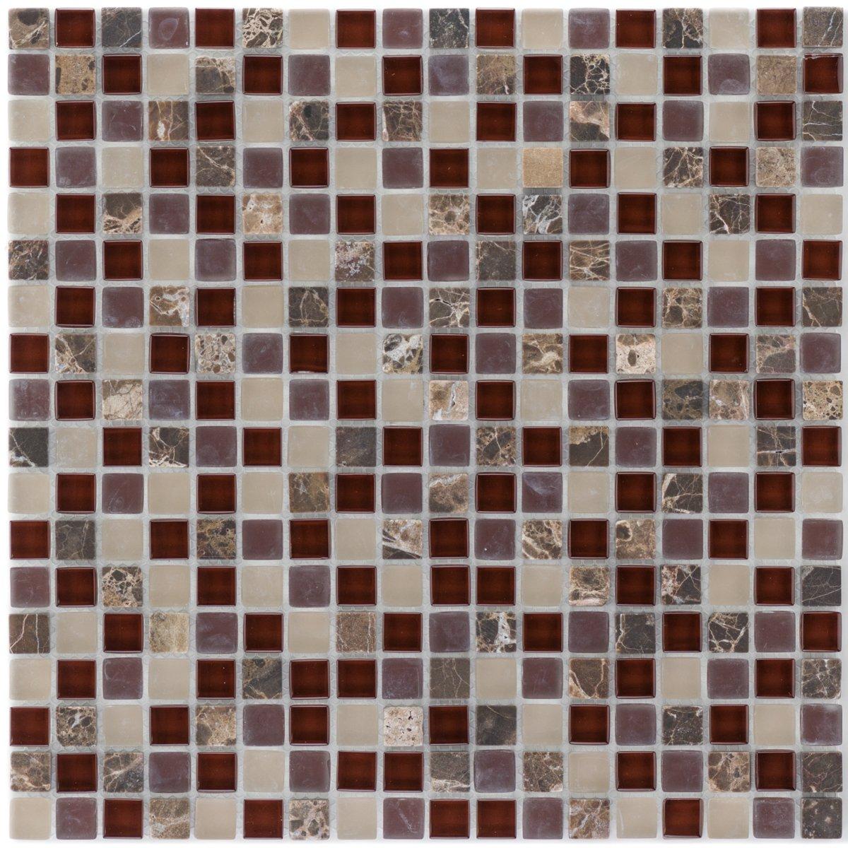 SK 47932 sklenené mozaikové dlaždice, hnedá, béžová