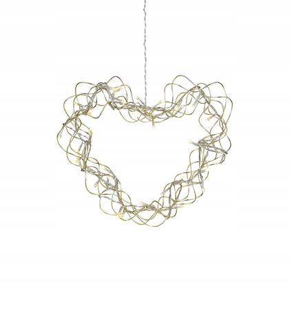 Závesné ozdobné srdce AURA zlaté 30 cm LED