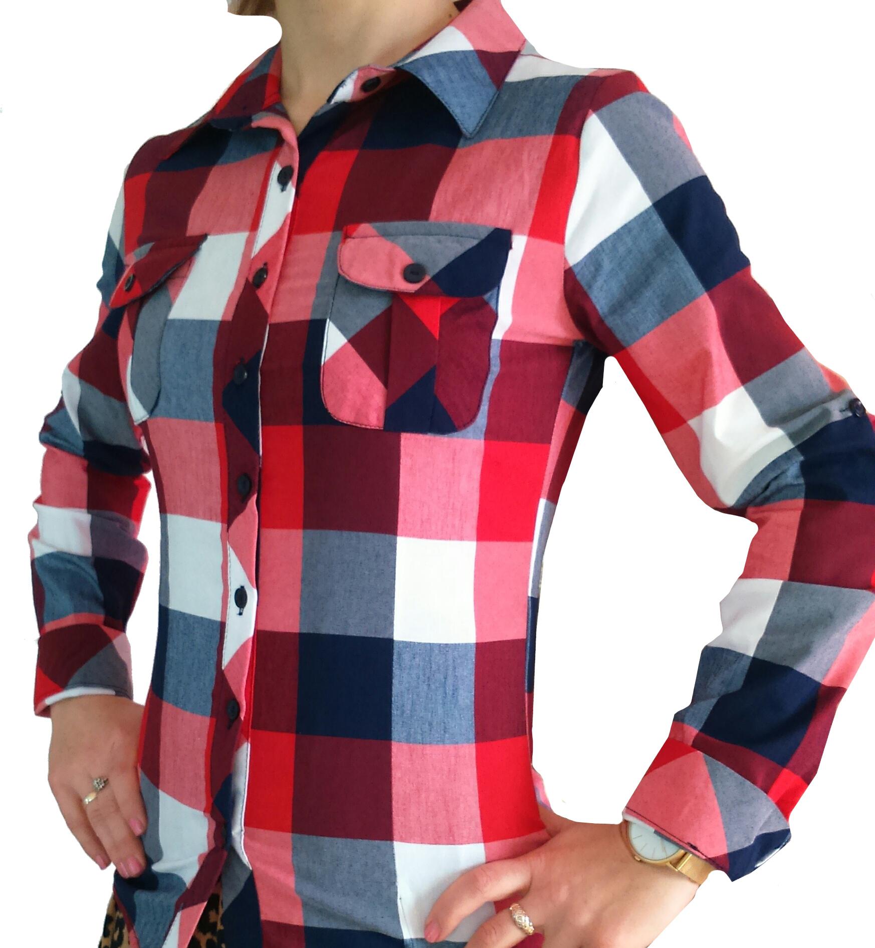Koszula w dużą kratę czerwono biała granat HIT!!! 7127148719  35Agn