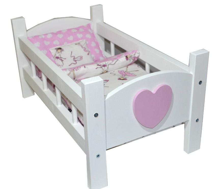 Detská postieľka drevená kolíska pre bábiky+posteľná bielizeň 4 el