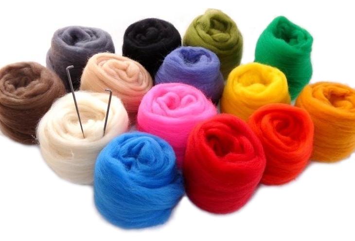 Item set - czesankowa wool + needle felting