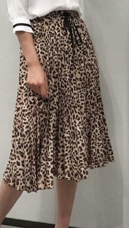 Spódnica modna midi plisowana w cętki panterkę M 7680731148