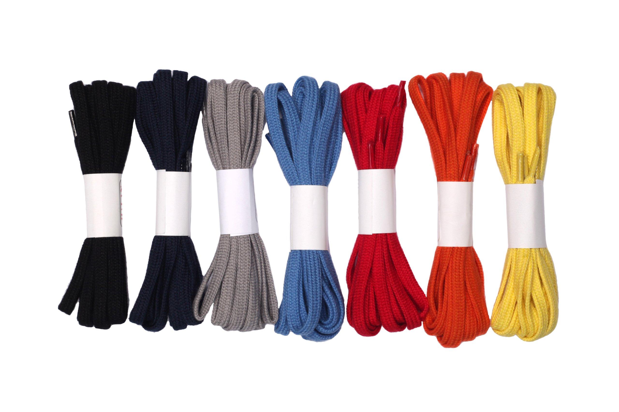 Цветные плоские шнурки 120 см, серые, темно-синие