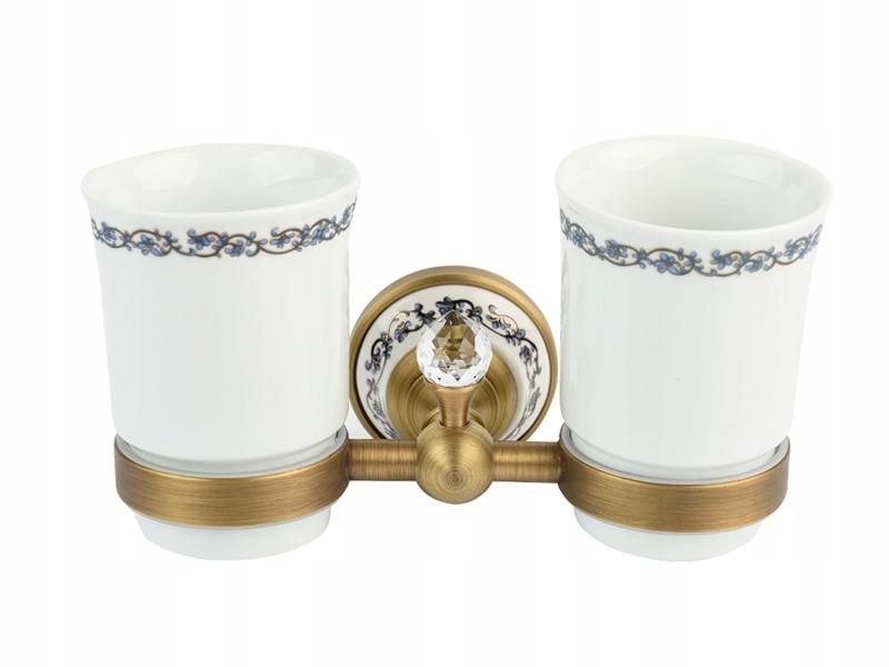 RETRO staré gold Cup kefka držiteľ keramické