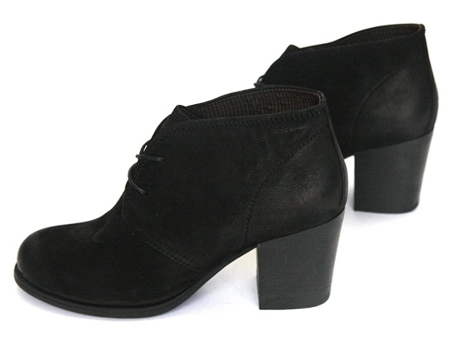 VAGABOND _ -20% nubuk kožený retro, čierne členkové topánky päty
