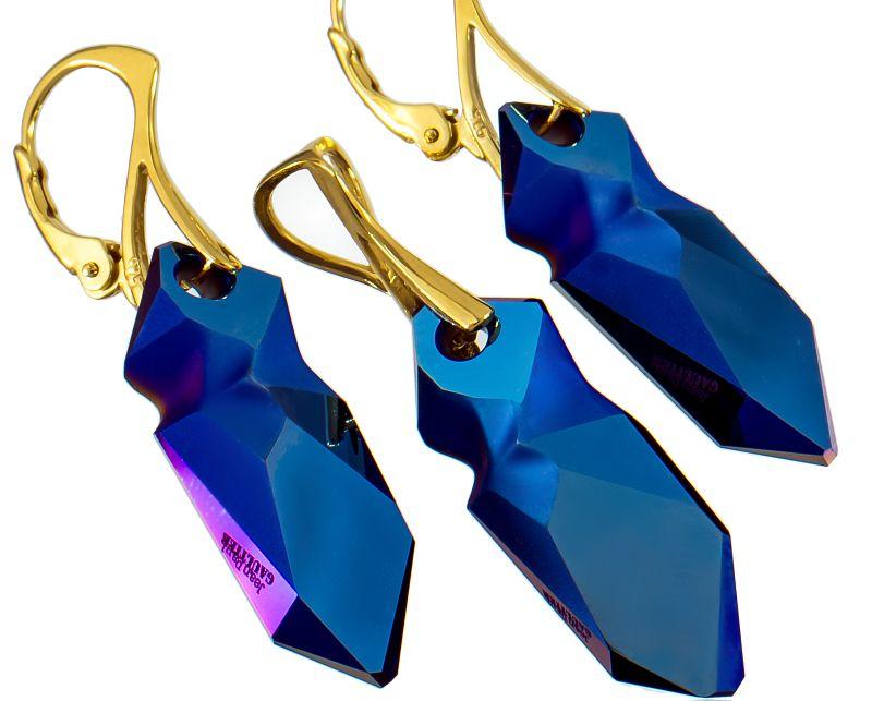 SWAROVSKI KRYŠTÁLY NASTAVIŤ Modrá Gaultier Zlato
