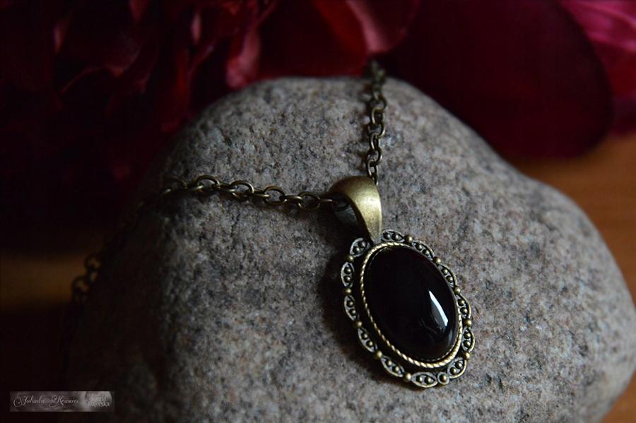 Black onyx Medailón Prívesok vintage Náhrdelník