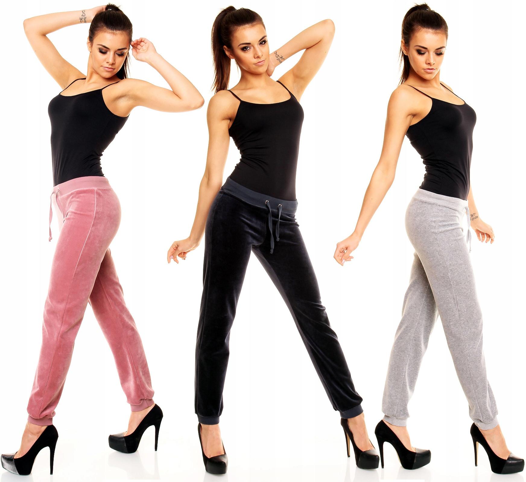 Spodnie Dresowe Welurowe Ściągacz M Fitness Dresy