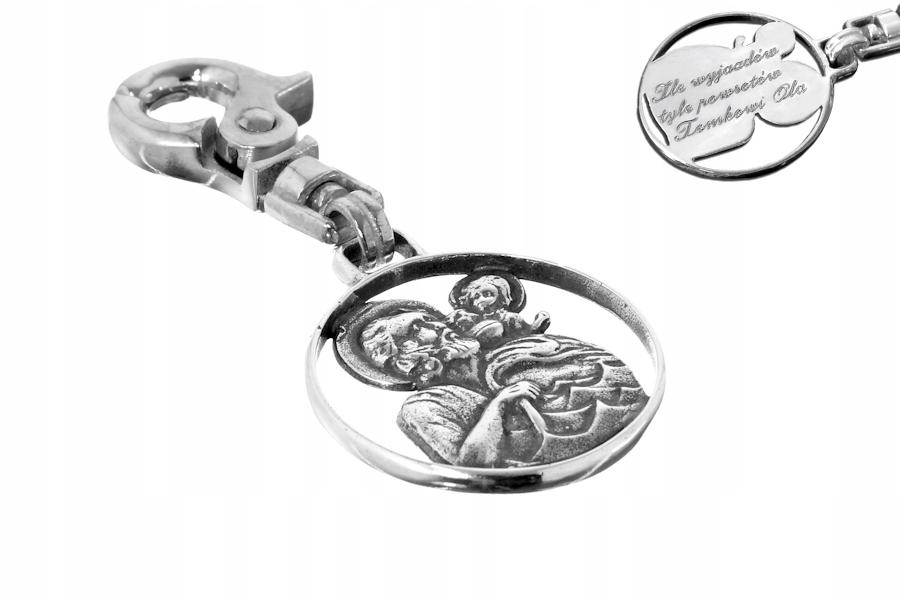 Item Silver key ring St. Christopher, engraver