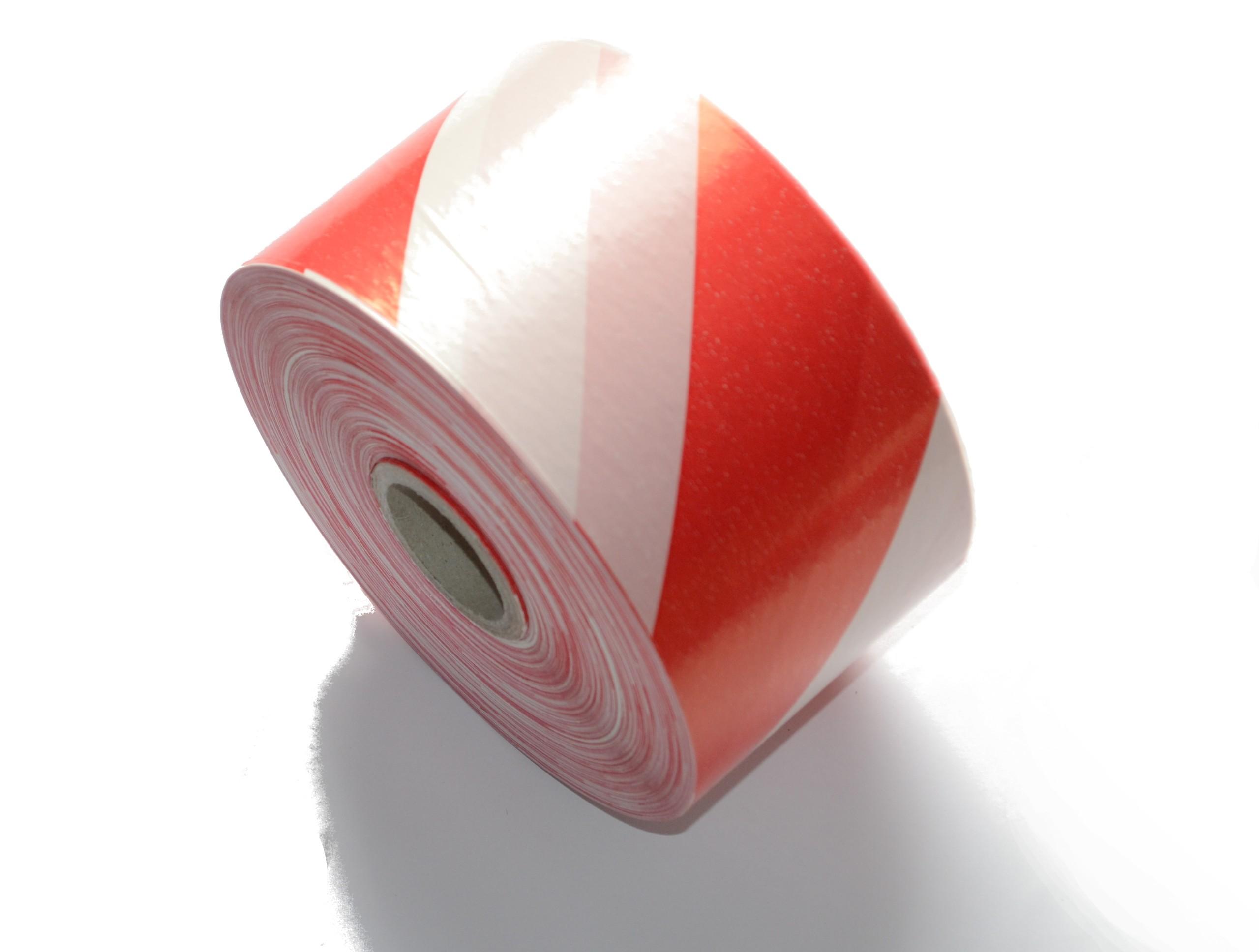 Лента оградительная бело-красная, 70 мм, 500 м