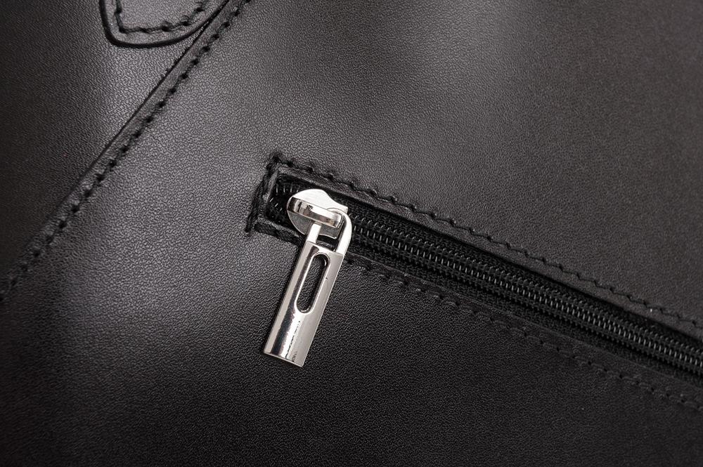 L'ARTIGIANO Włoska czarna A4 klasyczna skórzana torebka