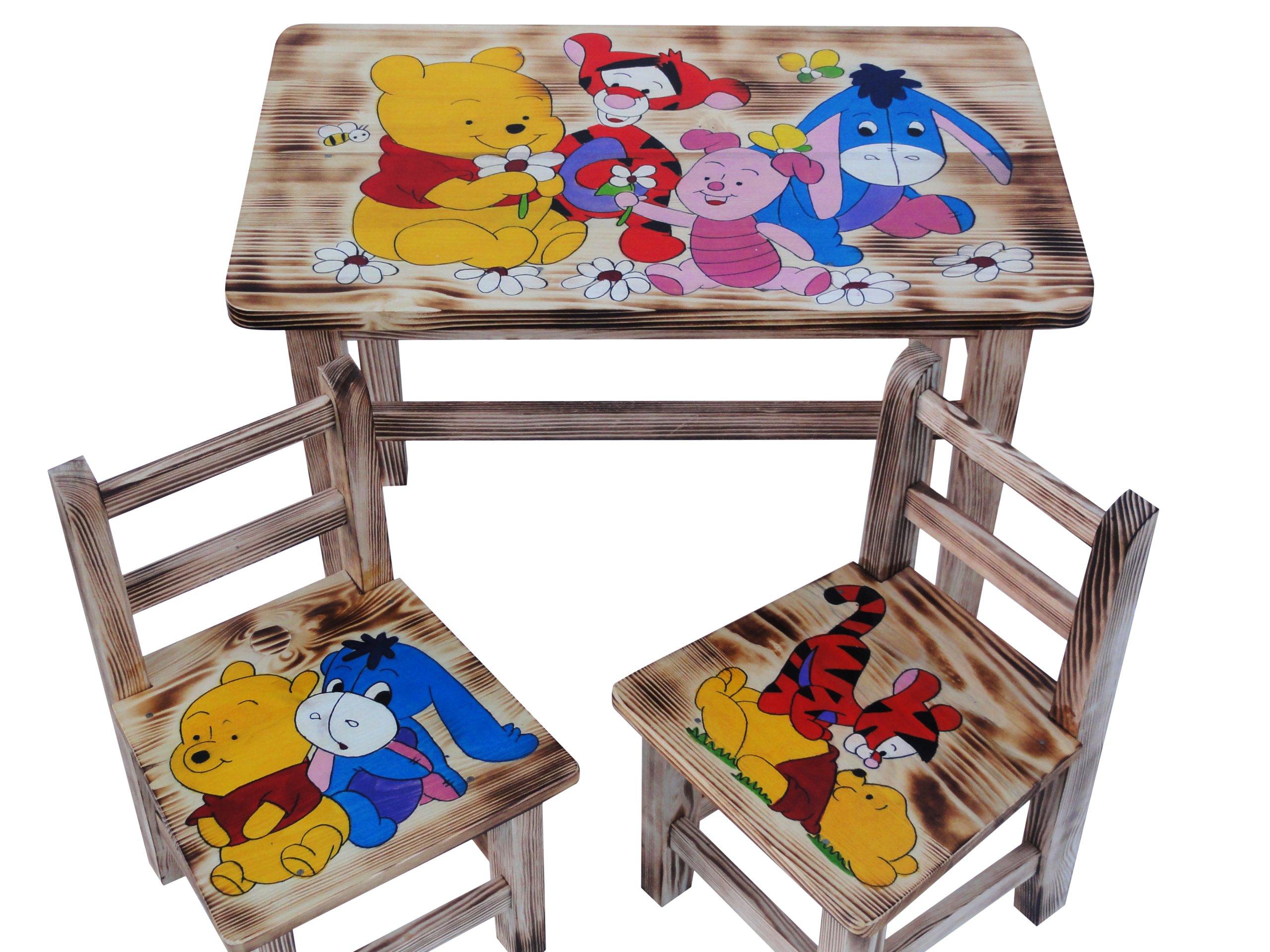Stolik i 2 krzesełka drewniane dla dzieci