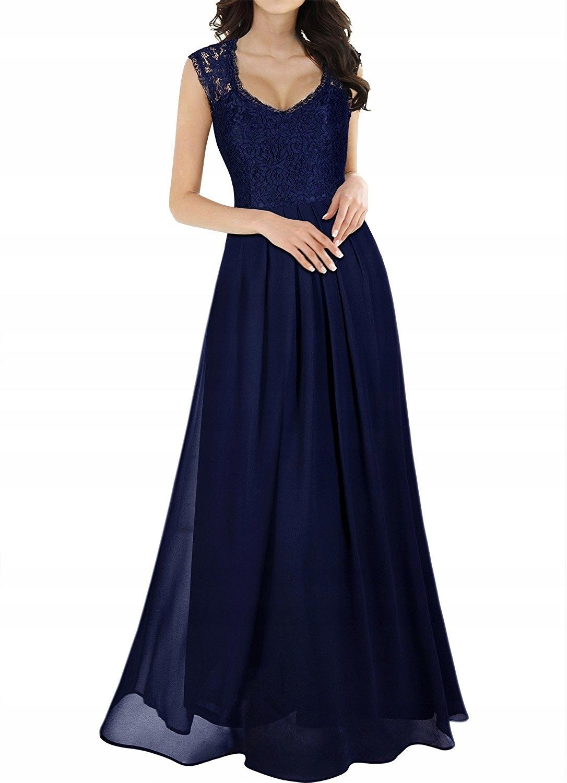 Krásne vintage čipky šaty tmavo modrá 42