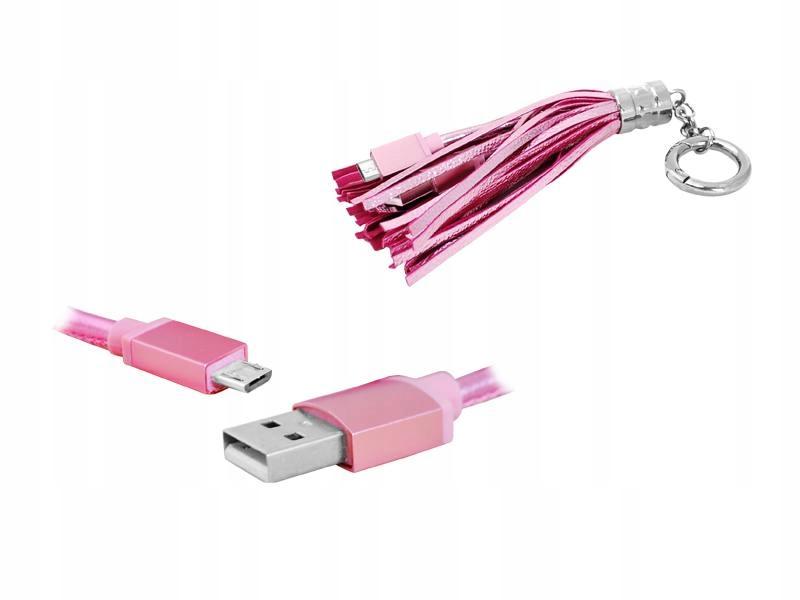 Kabel USB-microUSB Brelok Zawieszka, Różowy.