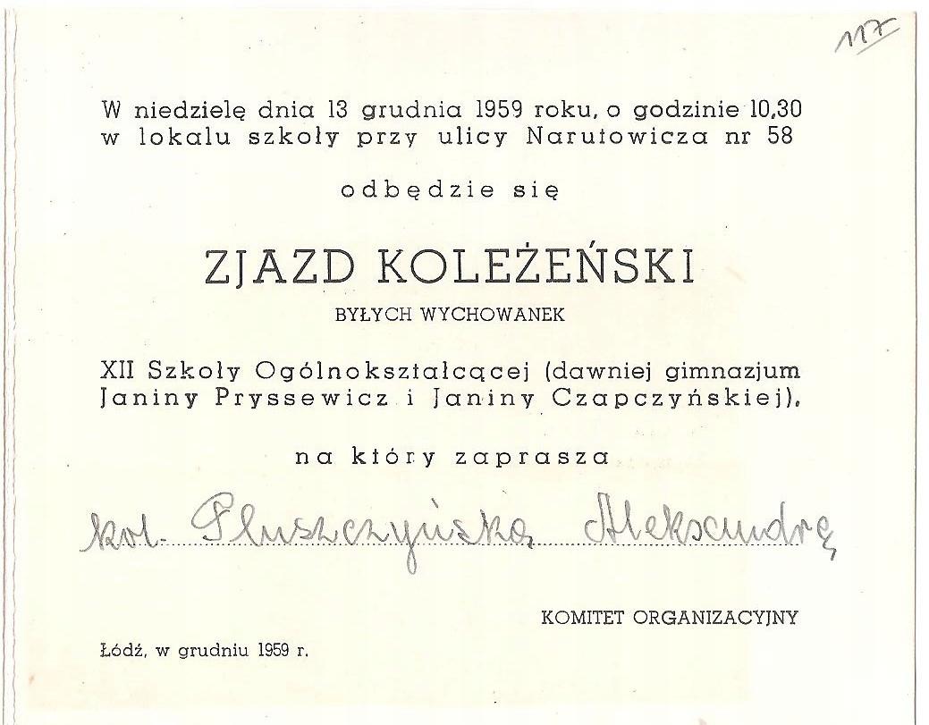 ZAPROSZENIE NA ZJAZD KOLEŻEŃSKI Z ŁODZI Z 1959 R.