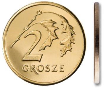 Монета номиналом 2 гроши 1999 года в мешочке