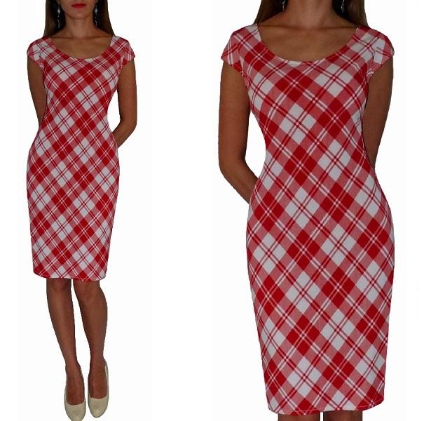 Sukienka Czerwona biała Kratka 36 Chcesz Dłuższą ?