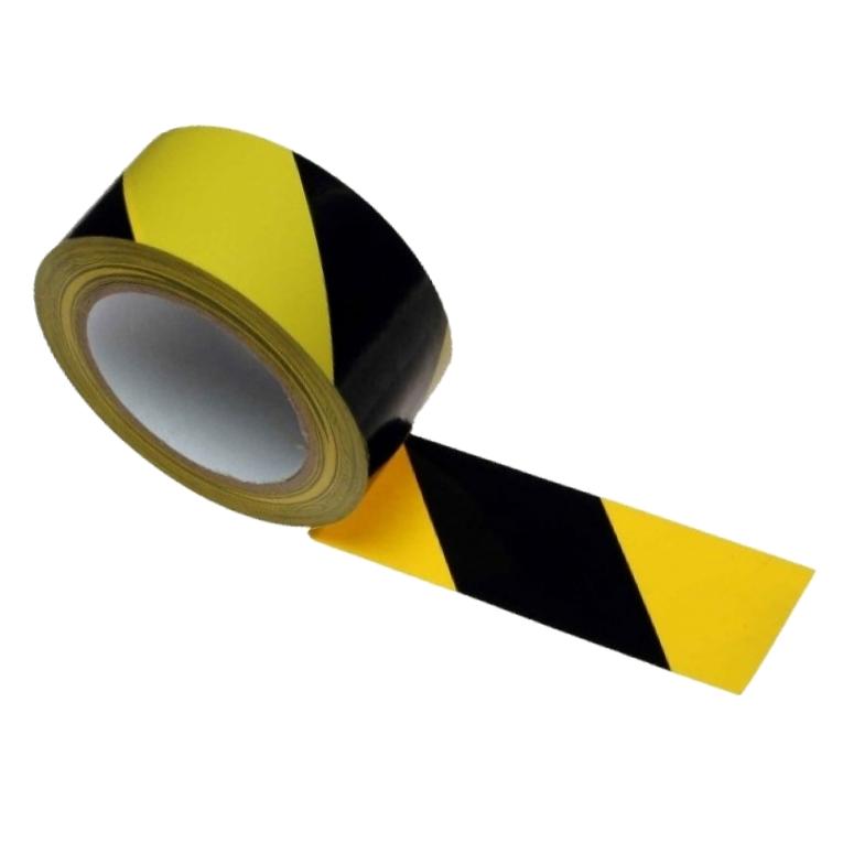 желто-черная предупреждая лента 50mm-33m ADHESIVE