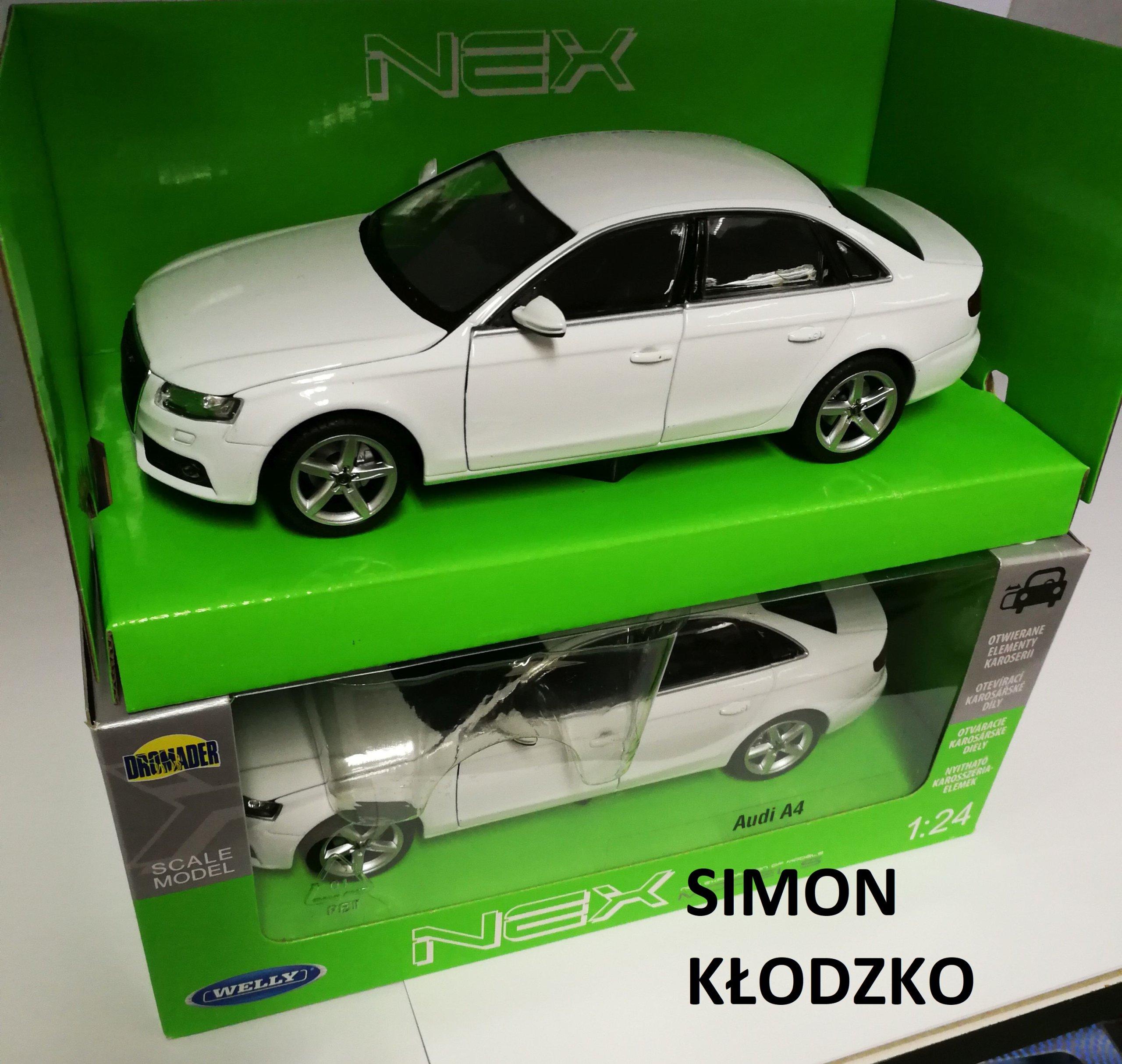 Welly 124 Audi A4 B8 Sedan Biały Nowy 7236351674 Oficjalne