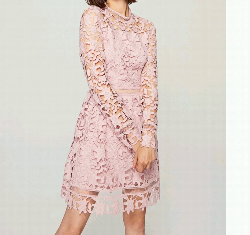 daed4b15ac Koronkowa sukienka pudrowy róż Reserved XS S prom - 7152942879 ...