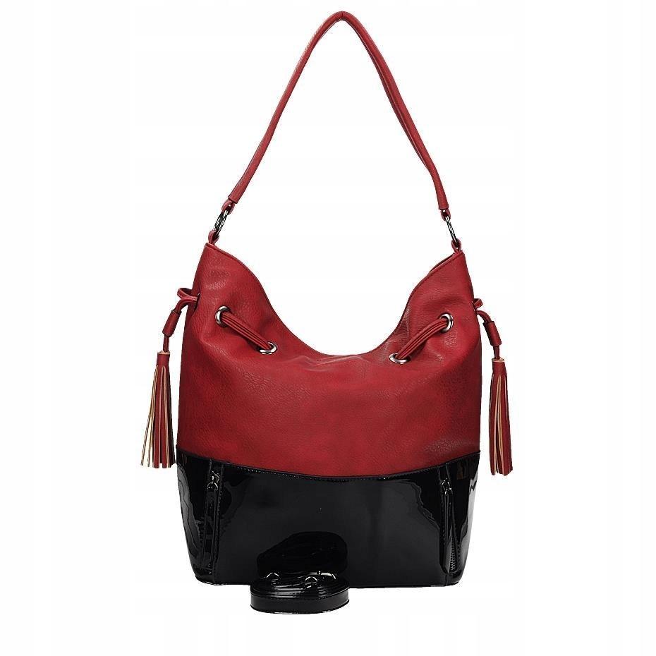 681c297f33d6a Czerwona duża torba worek na ramię Gallantry z lak - 7347133439 ...