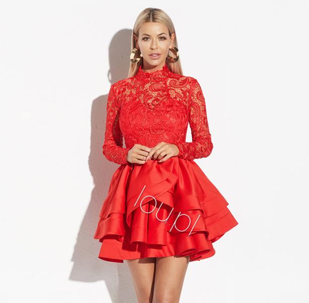 2ed529ecec Lou Juanita Czerwona Sukienka Wesele Koronka Xs 7523907986