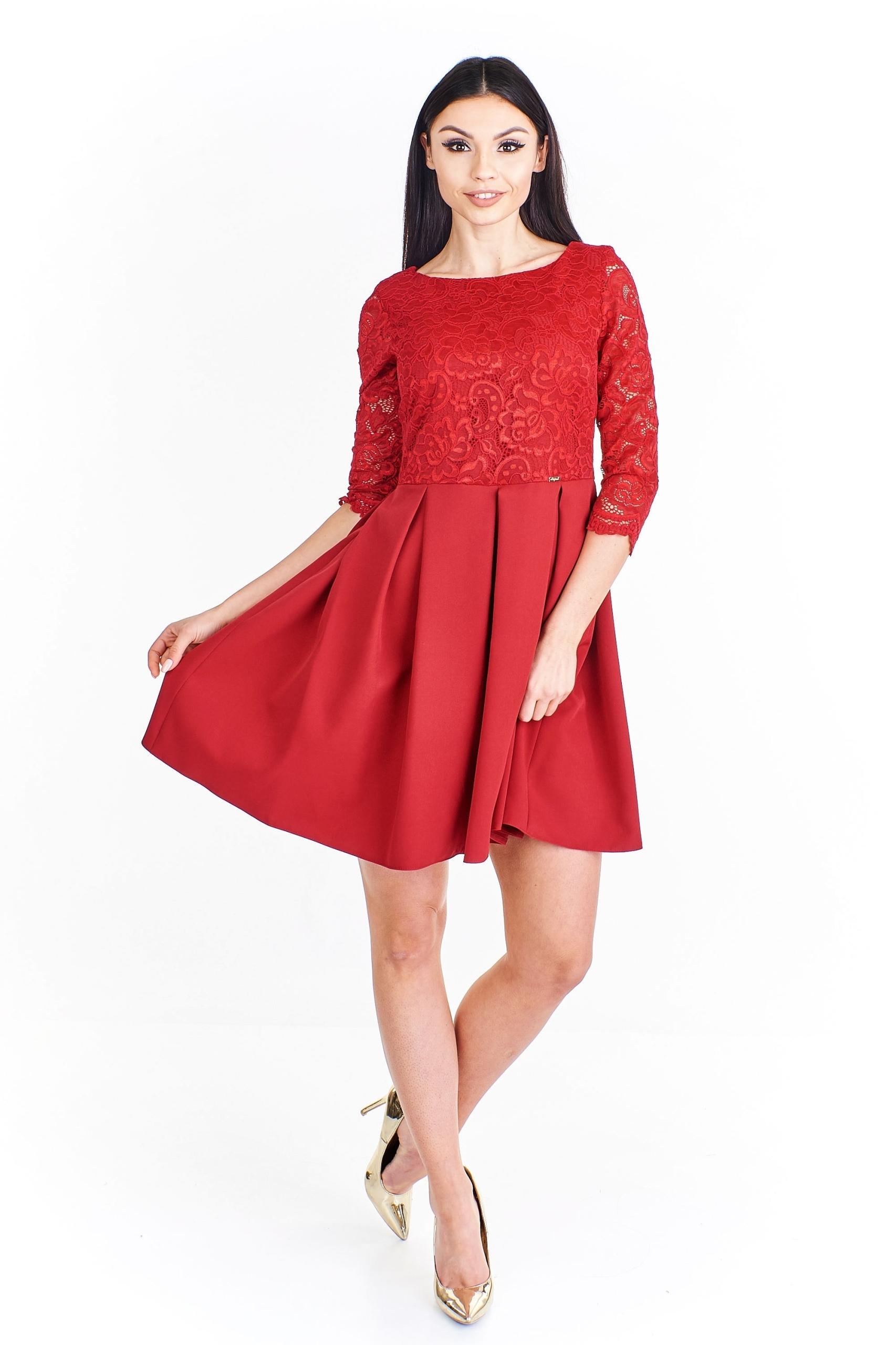 bd57f4f1ed Koktajlowa sukienka z koronkową górą Czerwony 42 - 7445500993 ...