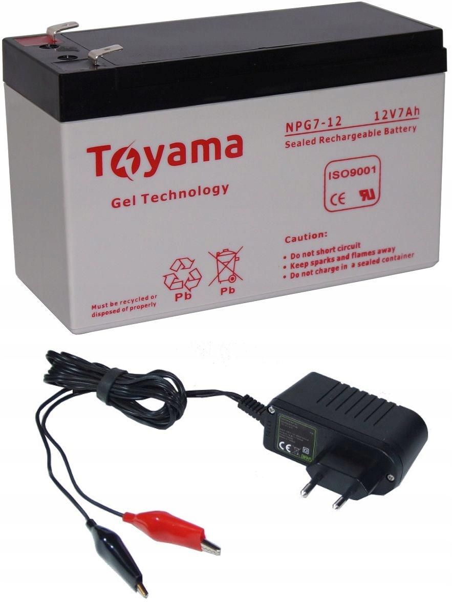Akumulator żelowy Toyama NPG7 +ładowarka echosonda